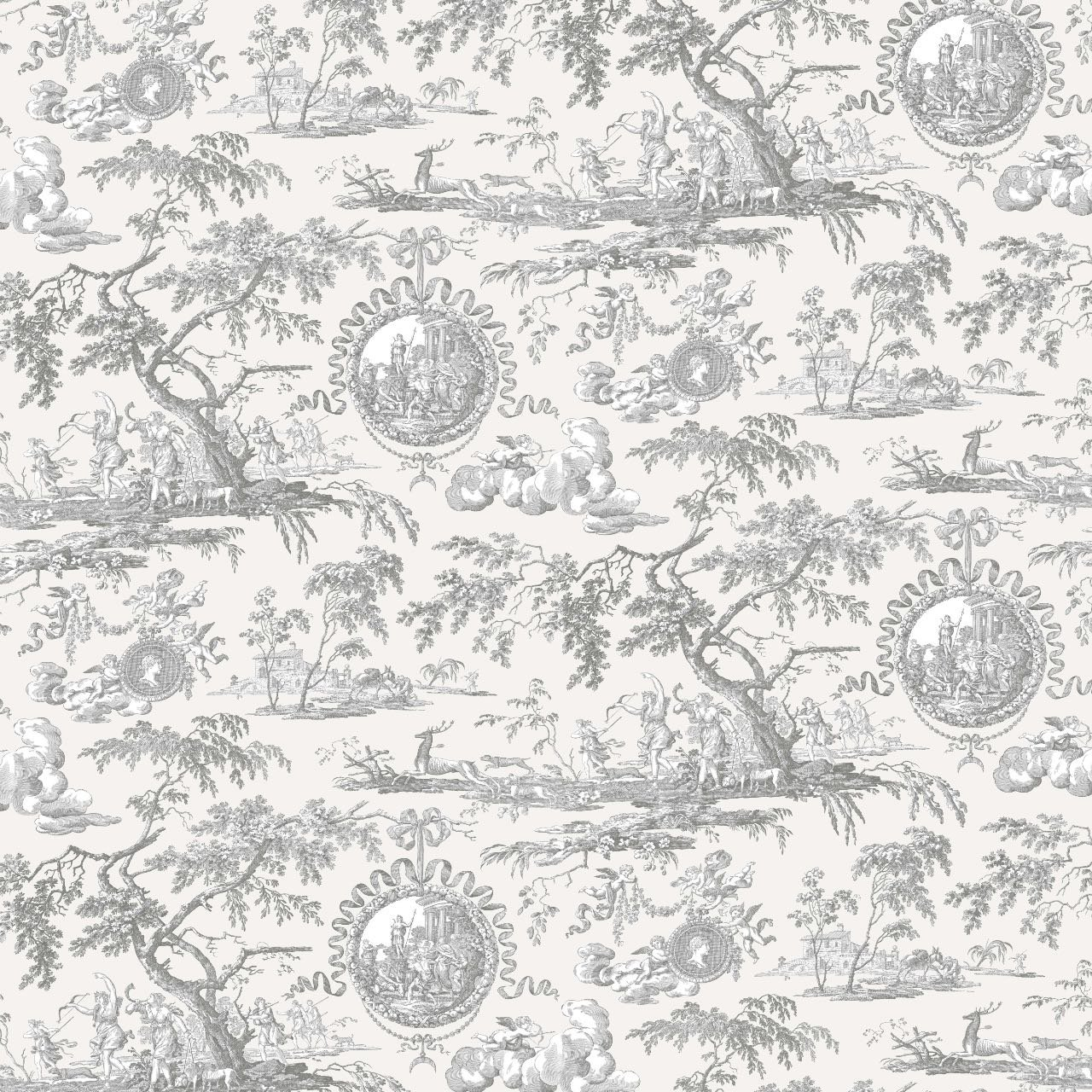 フランス壁紙 フリース(不織布) トワル・ド・ジュイ デザイン 《ディアーナの狩猟》  グレー