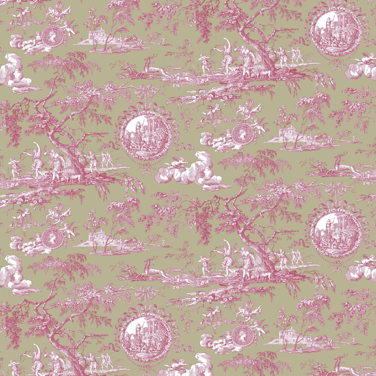 フランス壁紙 フリース(不織布) トワル・ド・ジュイ デザイン 《ディアーナの狩猟》  グリーン & ピンク