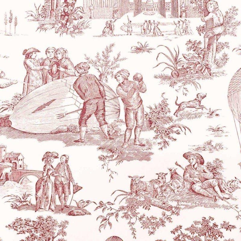 フランス壁紙 1ロール(10m) トワル・ド・ジュイ デザイン 《ゴネスの気球》  レッド by Charles Burger (シャールブルジェ)