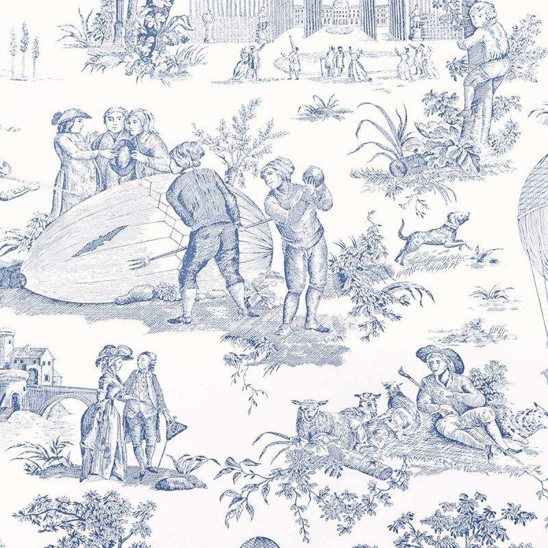 フランス壁紙 1ロール(10m) トワル・ド・ジュイ デザイン 《ゴネスの気球》  ブルー