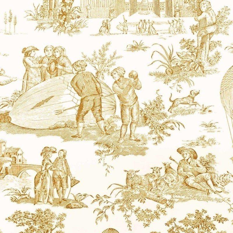 フランス壁紙 1ロール(10m) トワル・ド・ジュイ デザイン 《ゴネスの気球》  イエロー