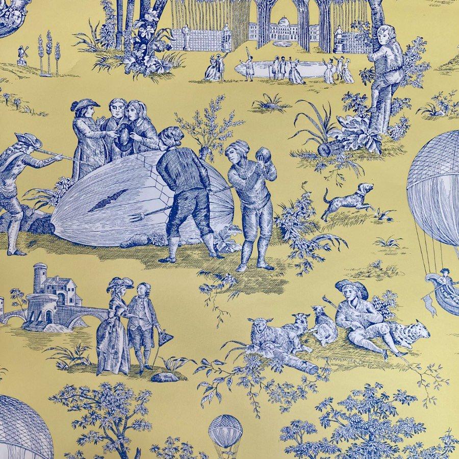 フランス壁紙 1ロール(10m) トワル・ド・ジュイ デザイン 《ゴネスの気球》 イエロー & ブルー