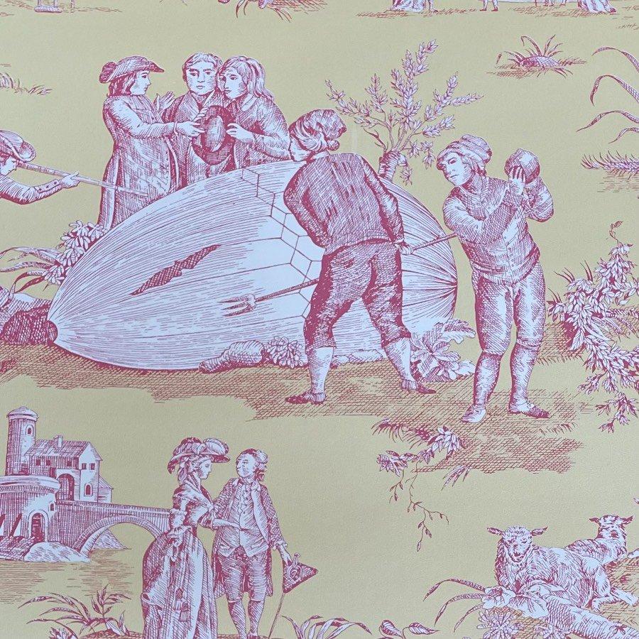 フランス壁紙 1ロール(10m) トワル・ド・ジュイ デザイン 《ゴネスの気球》 イエロー & ピンク