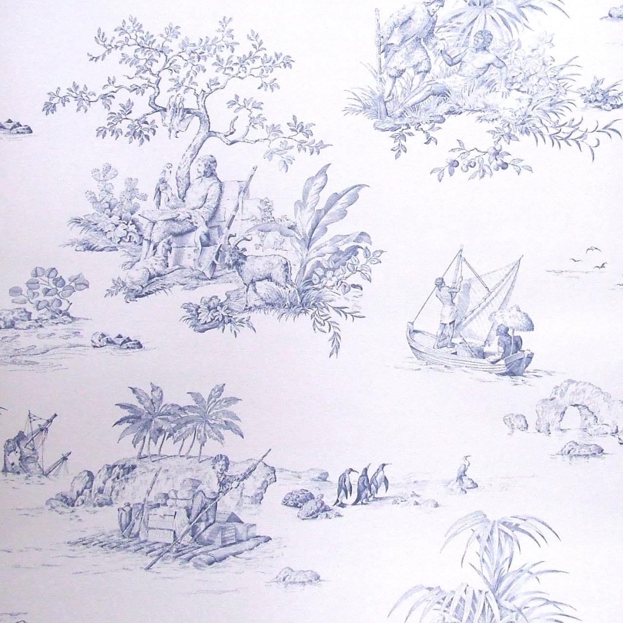 フランス壁紙 1ロール(10m) トワル・ド・ジュイ デザイン 《ロビンソン・クルーソー》 ブルー by Charles Burger (シャールブルジェ)