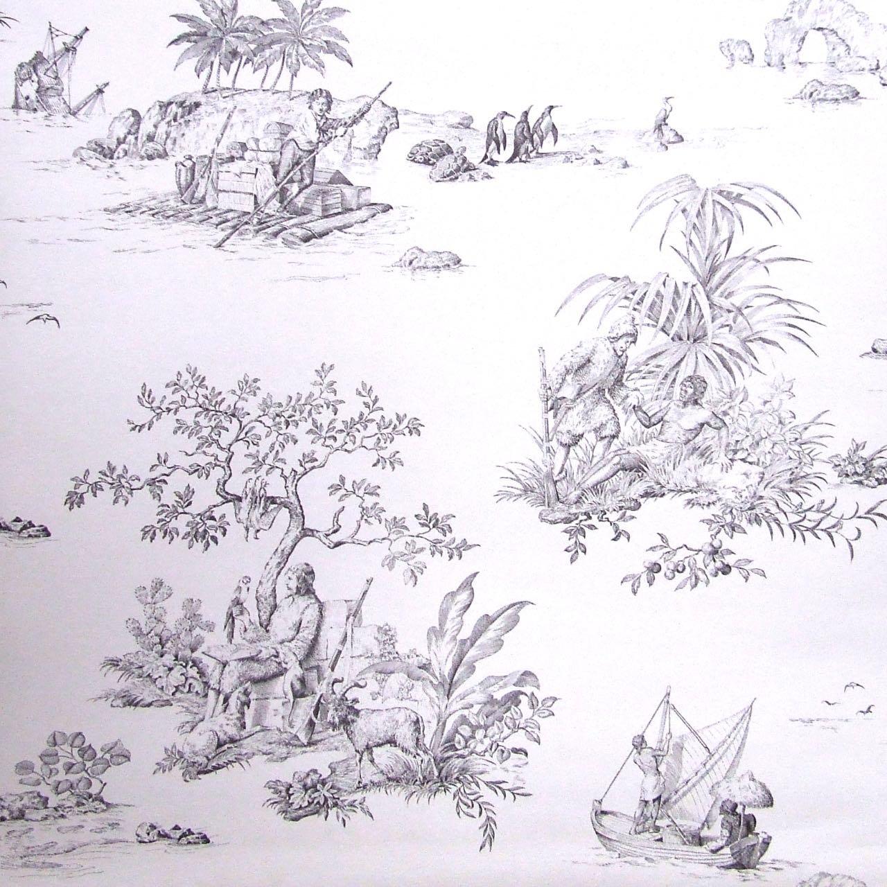 フランス壁紙 1ロール(10m) トワル・ド・ジュイ デザイン 《ロビンソン・クルーソー》 ブラック
