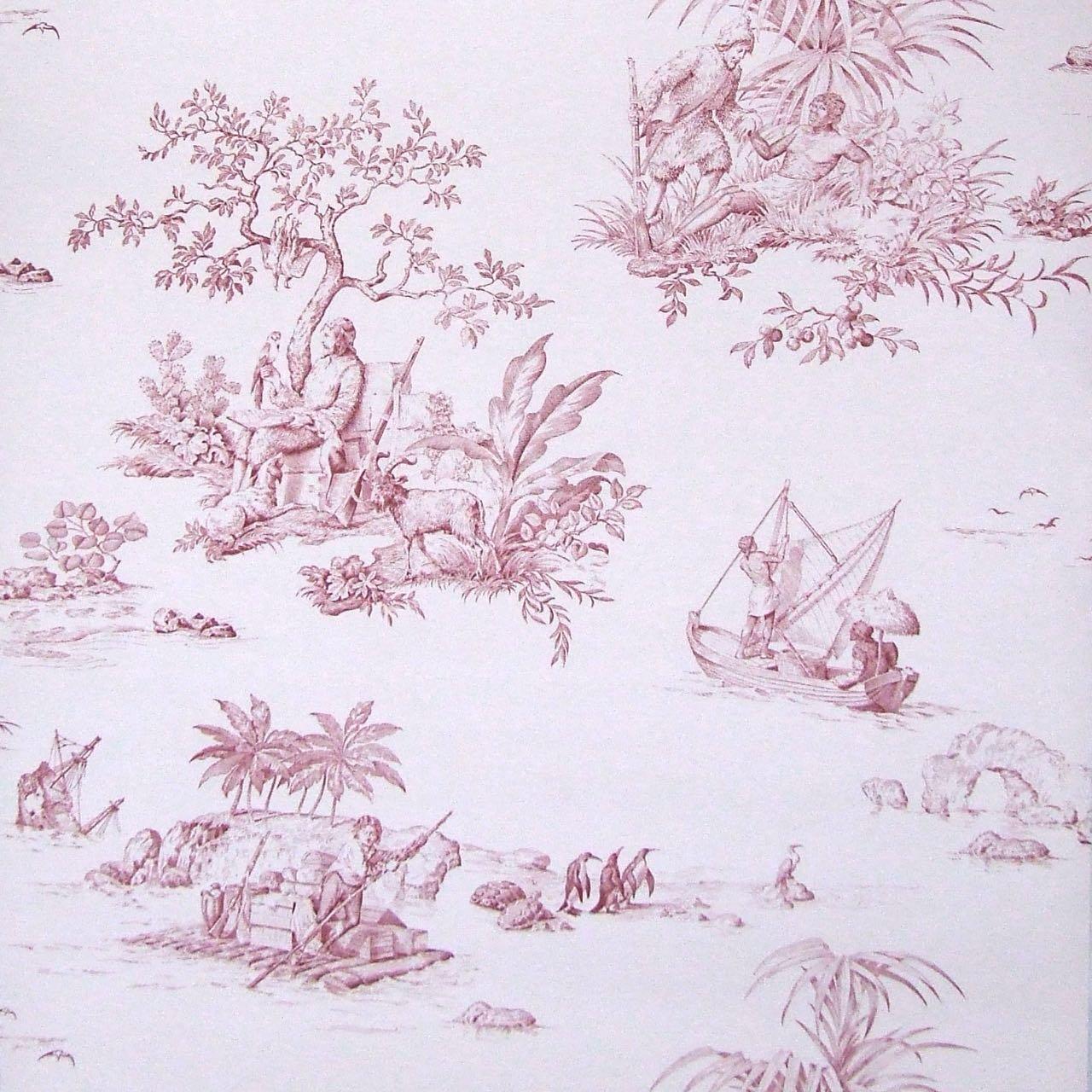 フランス壁紙 1ロール(10m) トワル・ド・ジュイ デザイン 《ロビンソン・クルーソー》 レッド