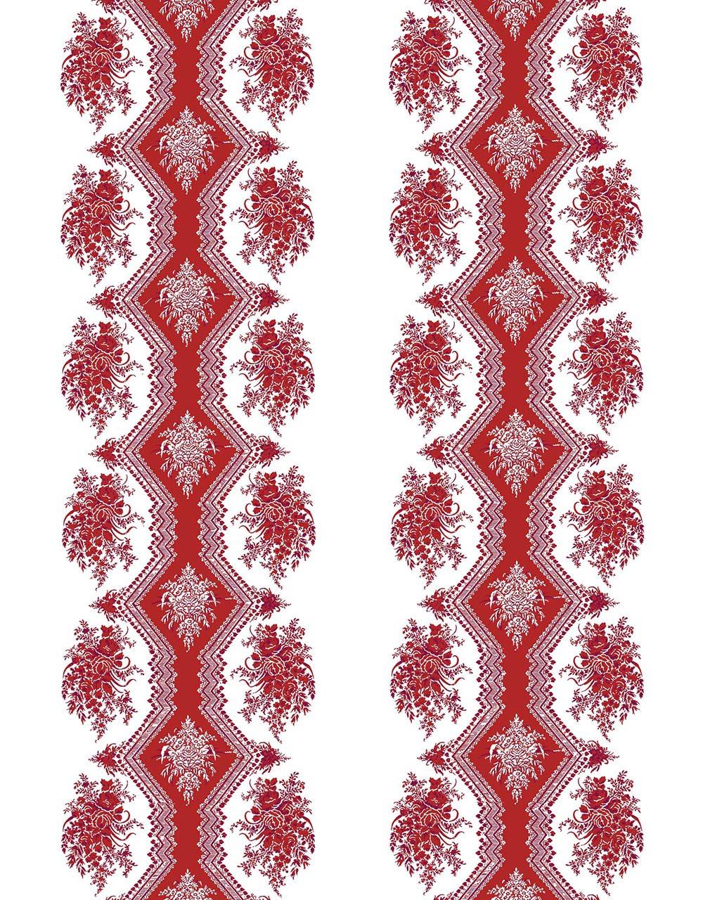 フランス壁紙 フリース(不織布) - 防炎加工 マドレーヌ・カスタン デザイン 《コッペリア》 レッド by Edmond Petit (エドモンプティ)