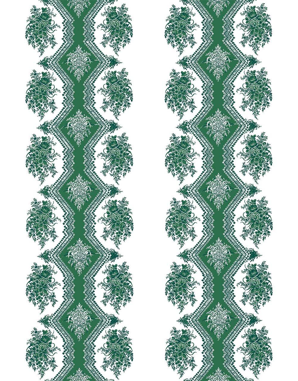 フランス壁紙 フリース(不織布) - 防炎加工 マドレーヌ・カスタン デザイン 《コッペリア》 グリーン