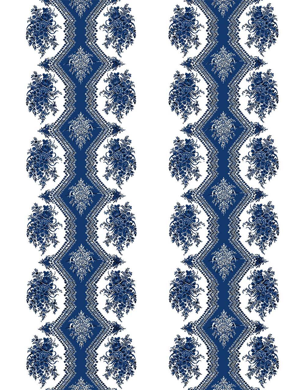 フランス壁紙 フリース(不織布) - 防炎加工 マドレーヌ・カスタン デザイン 《コッペリア》 ブルー