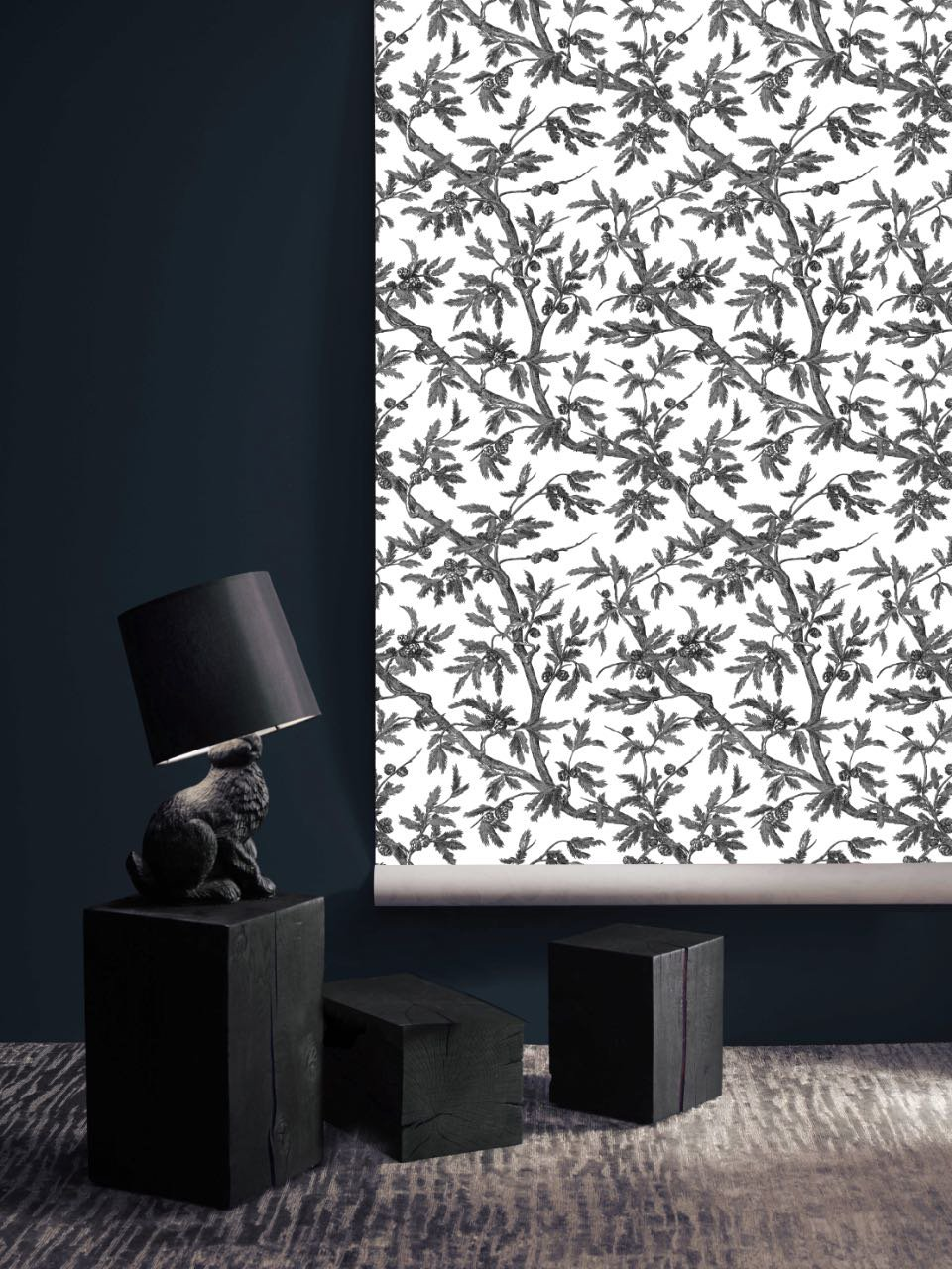 フランス壁紙 フリース(不織布) - 防炎加工 マドレーヌ・カスタン デザイン 《ブランシュー》 ブラック