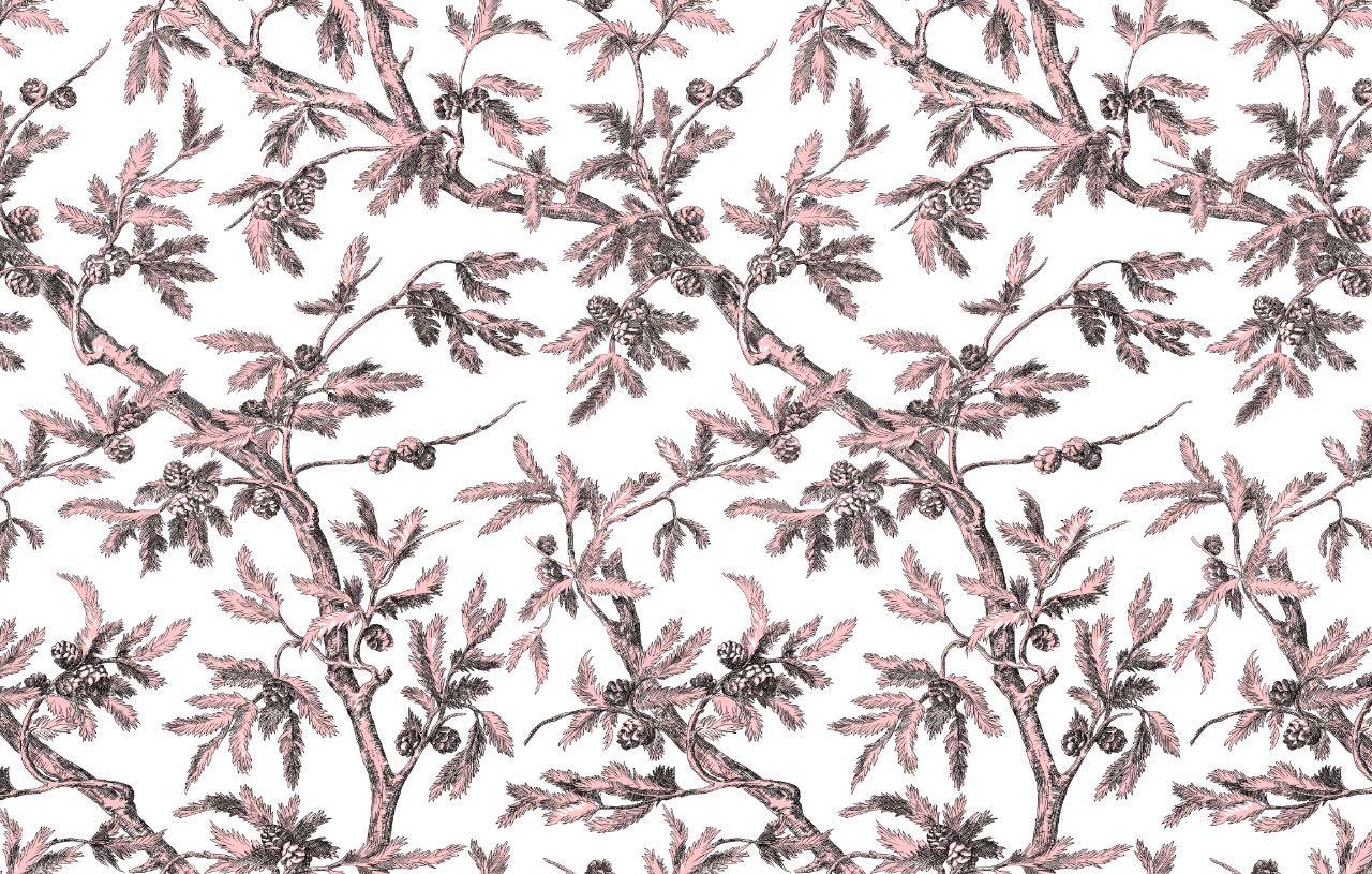 フランス壁紙 フリース(不織布) - 防炎加工 マドレーヌ・カスタン デザイン 《ブランシュー》 ピンク