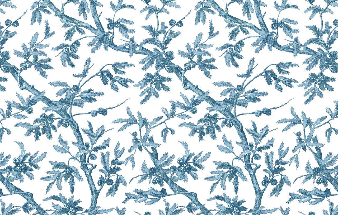 フランス壁紙 フリース(不織布) - 防炎加工 マドレーヌ・カスタン デザイン 《ブランシュー》 ブルー