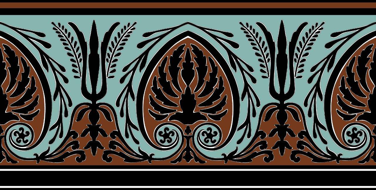 フランス壁紙 フリース(不織布) - 防炎加工 1ロール(4m) マドレーヌ・カスタン デザイン 《パルメット》 ブラウン & ターコイズブルー by Edmond Petit (エドモンプティ)