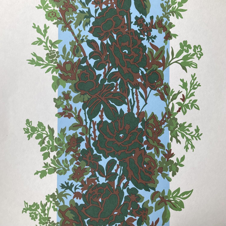 フランス壁紙 フリース(不織布) - 防炎加工 マドレーヌ・カスタン デザイン 《フルーリー》 グリーン