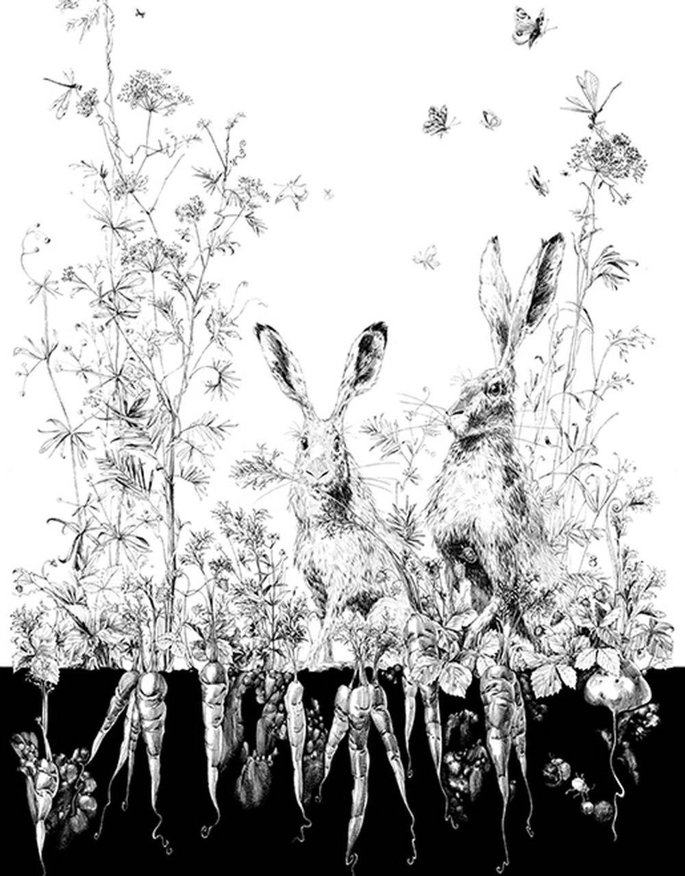 フランス壁紙 1ロール(3m) フリース(不織布) - 防炎加工 by キャサリン・グラン 《リエーブル - 右》 ブラック & ホワイト by Edmond Petit (エドモンプティ)