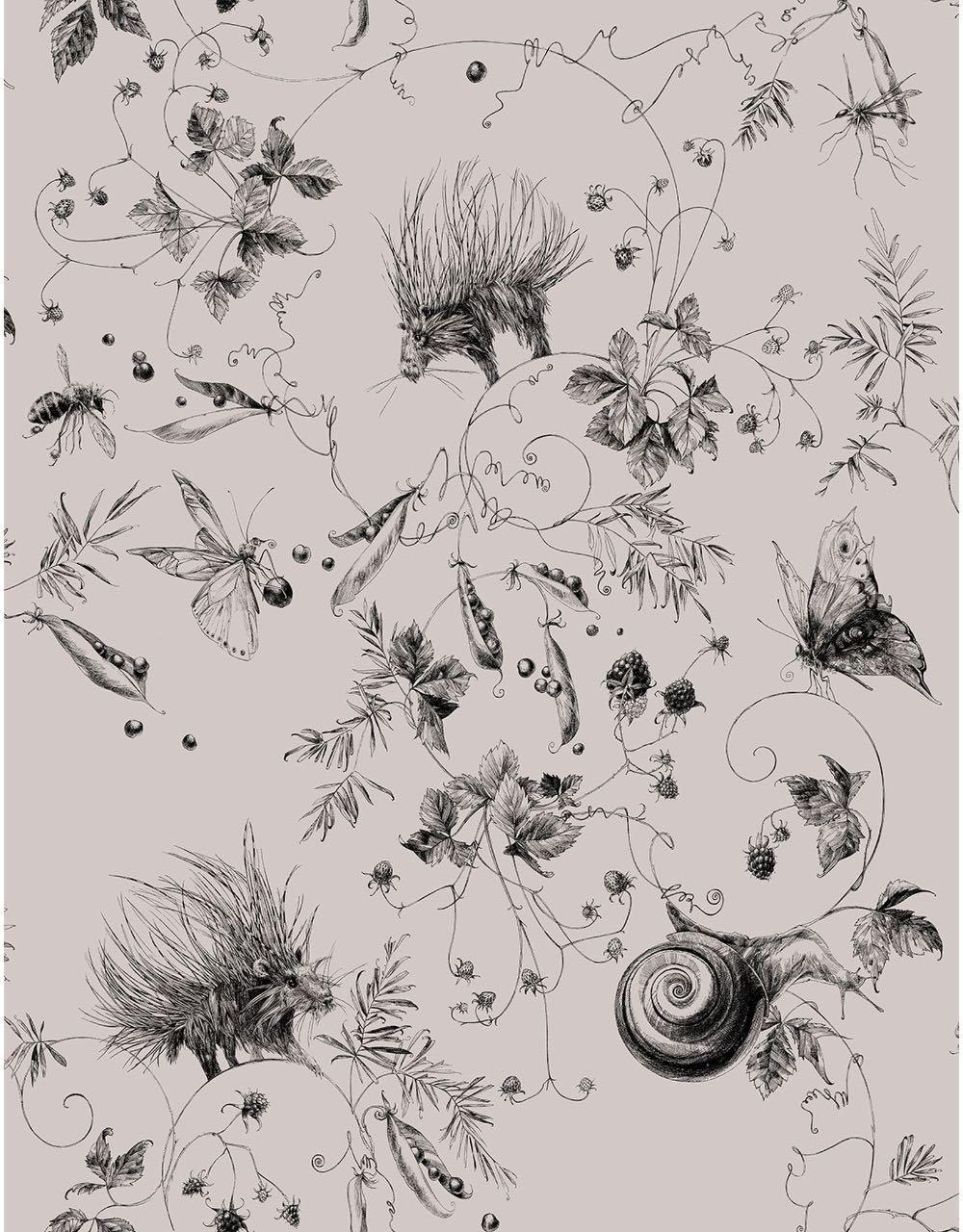 フランス壁紙 フリース(不織布) - 防炎加工 by キャサリン・グラン 《ガーデン》 トープ by Edmond Petit (エドモンプティ)