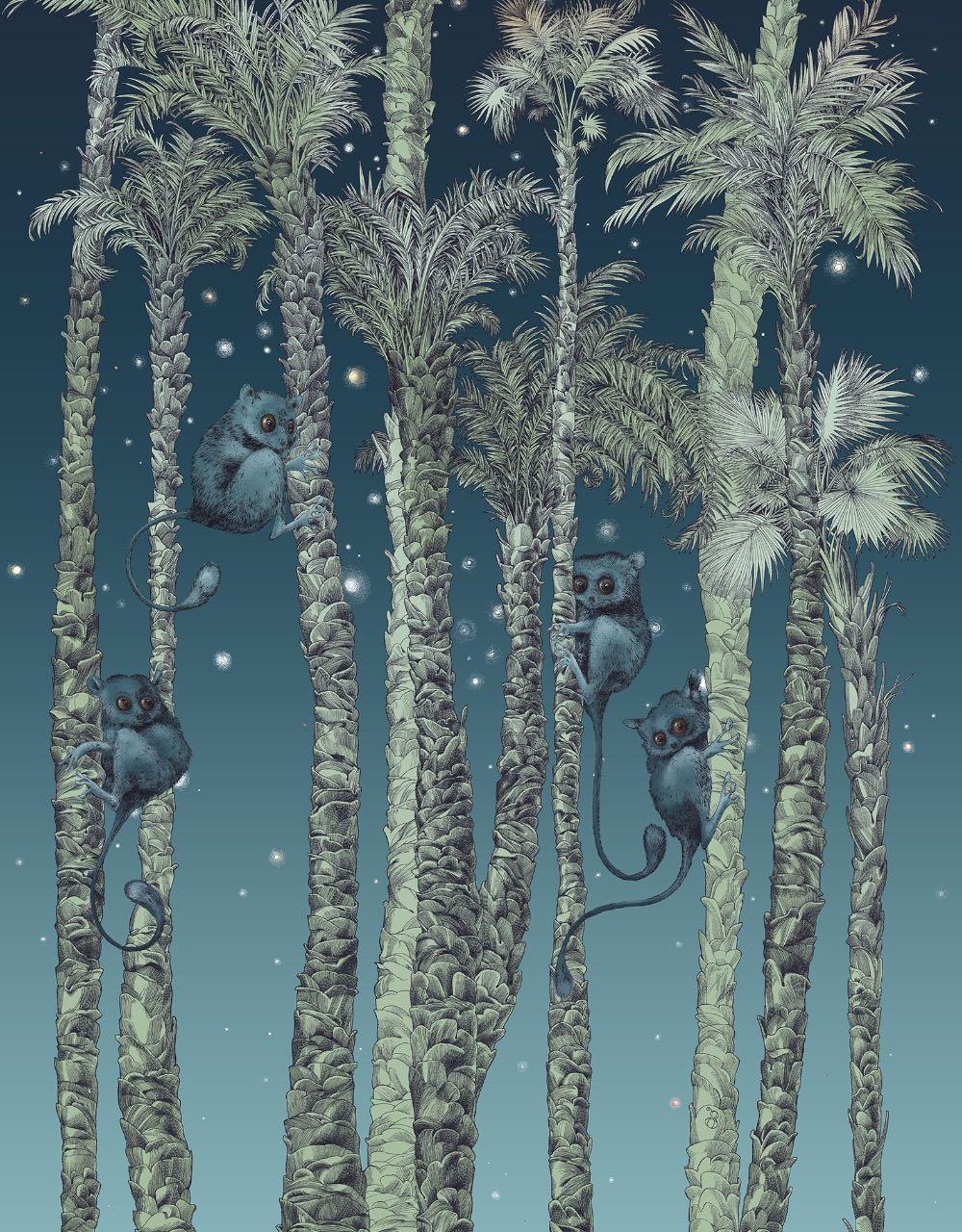 フランス壁紙 1ロール(3m) フリース(不織布) - 防炎加工 by キャサリン・グラン 《ヌイ・コスミック - 左》 ブルー by Edmond Petit (エドモンプティ)