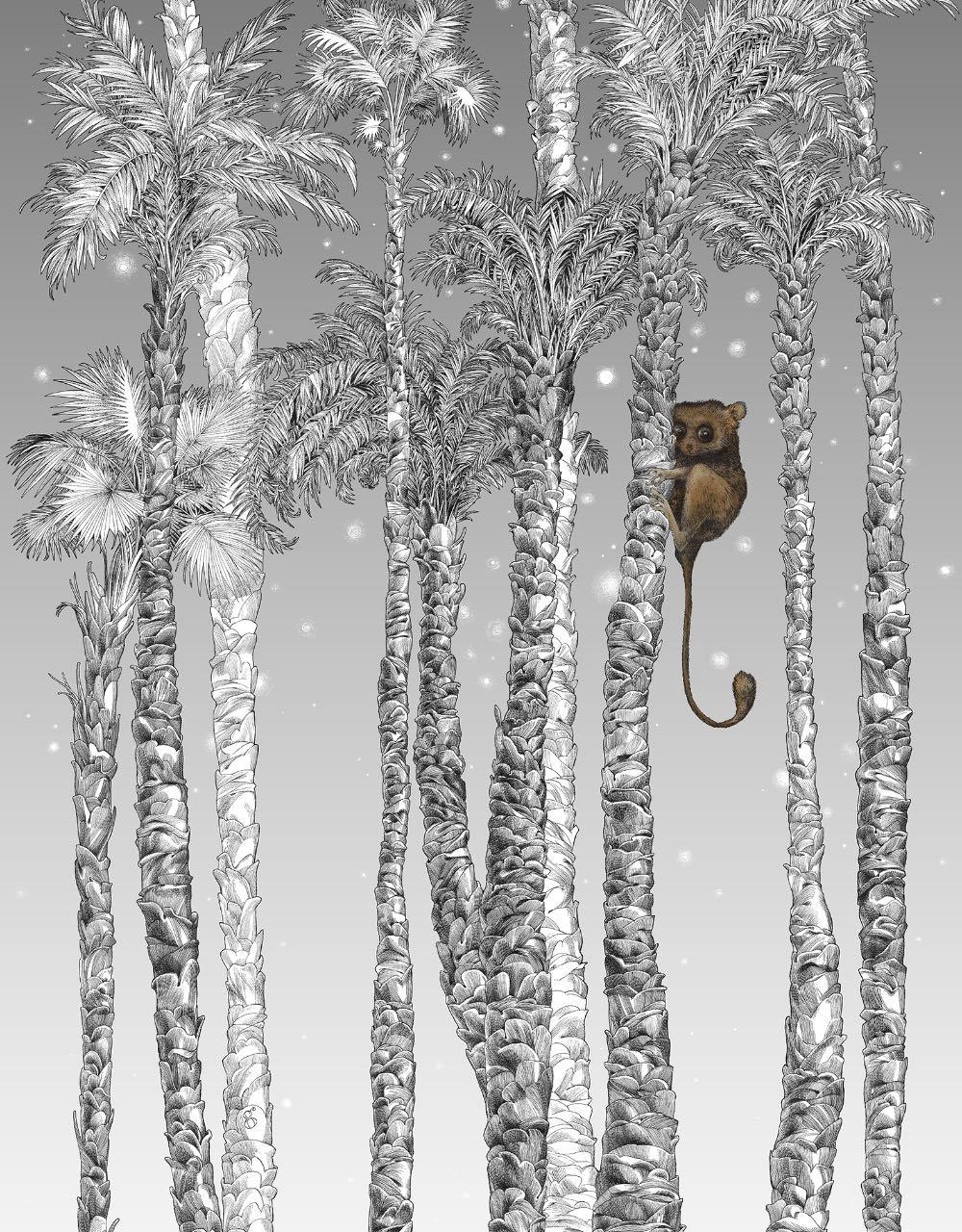 フランス壁紙 1ロール(3m) フリース(不織布) - 防炎加工 by キャサリン・グラン 《ヌイ・テリエン - 右》 ブラック & ホワイト by Edmond Petit (エドモンプティ)