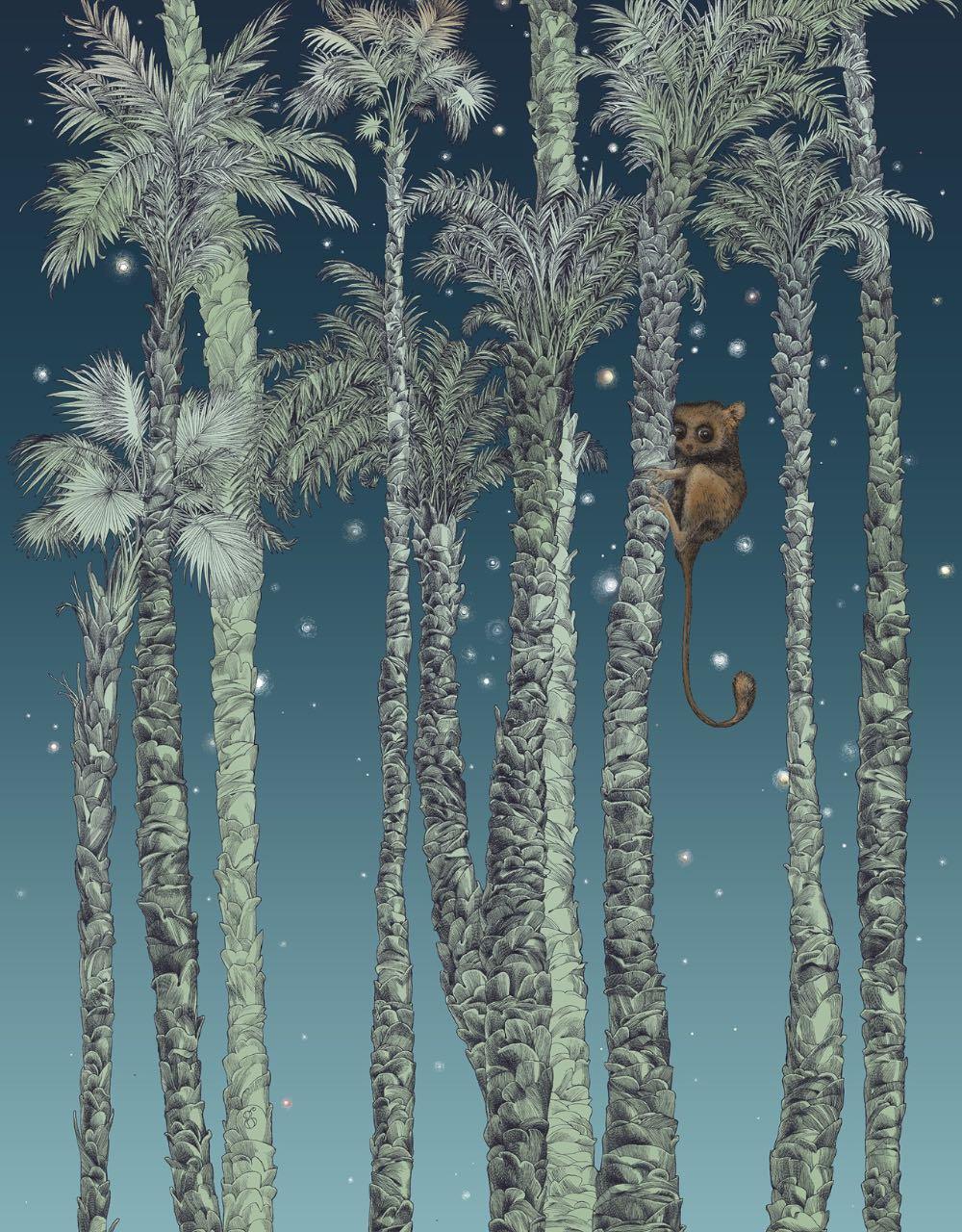 フランス壁紙 1ロール(3m) フリース(不織布) - 防炎加工 by キャサリン・グラン 《ヌイ・テリエン - 右》 ナチュラル by Edmond Petit (エドモンプティ)