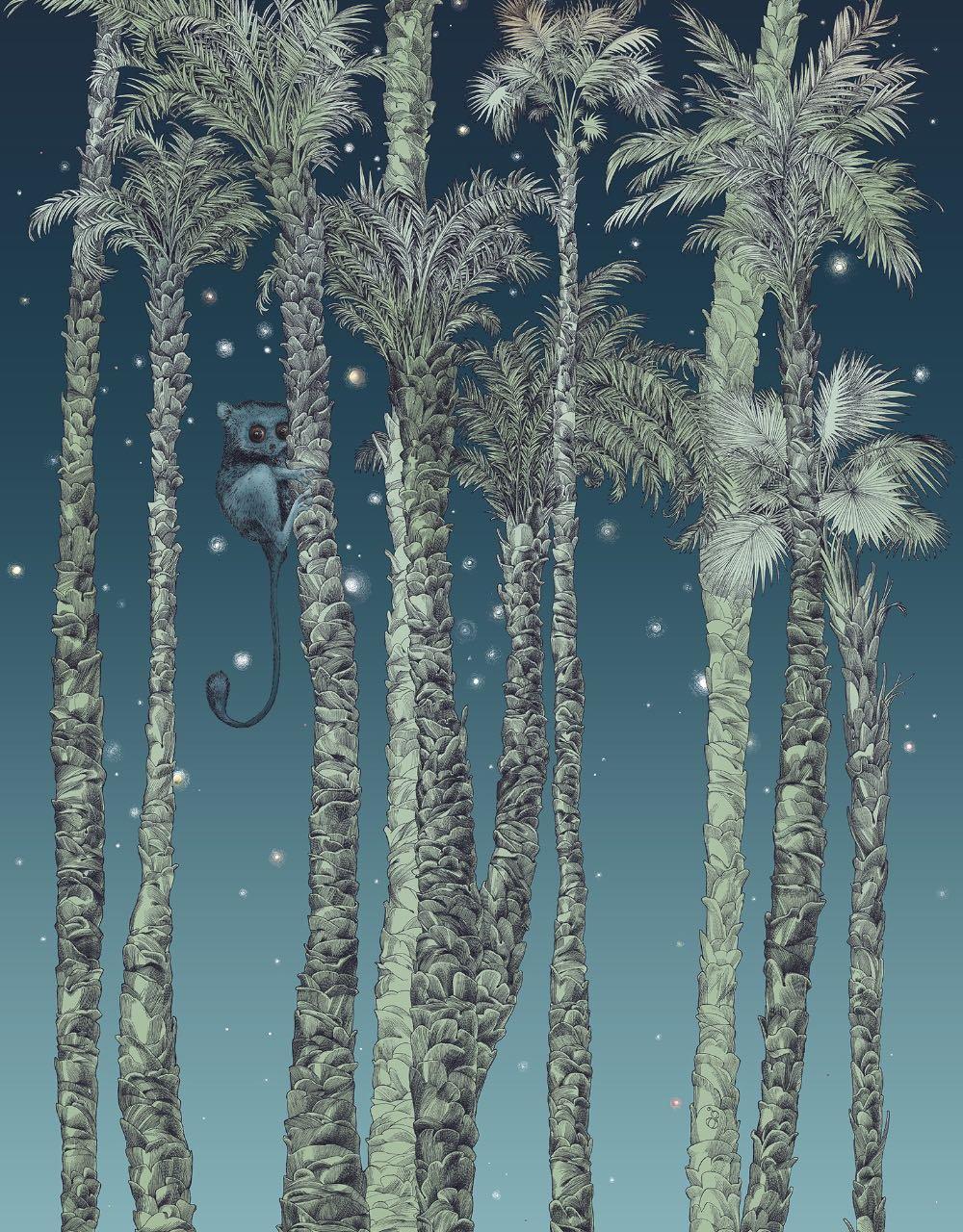 フランス壁紙 1ロール(3m) フリース(不織布) - 防炎加工 by キャサリン・グラン 《ヌイ・テリエン - 左》 ブルー by Edmond Petit (エドモンプティ)