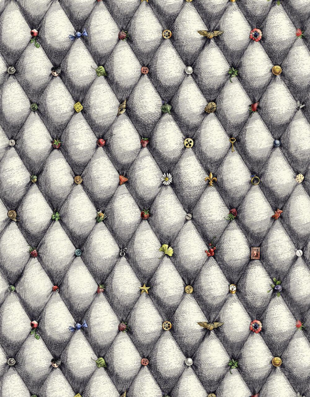 フランス壁紙 フリース(不織布) - 防炎加工 by キャサリン・グラン 《ヴァイド・ポッシュ》 ブラック & ホワイト