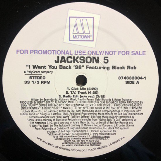 JACKSON 5 FEATURING BLACK ROB / I WANT YOU BACK '98 (PROMO)