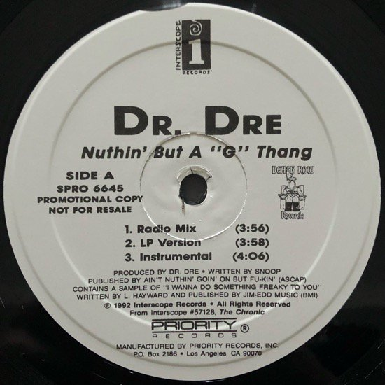 DR. DRE / NUTHIN' BUT A 'G' THANG (WHITE)