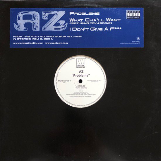 AZ / PROBLEMS b/w WHAT CHA'LL WANT / I DON'T GIVE A F*** (2001 US PROMO ONLY)