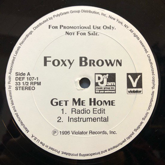 FOXY BROWN / GET ME HOME b/w DA PROMISE (1996 US PROMO ONLY)