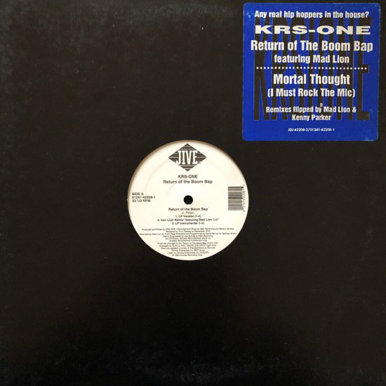 KRS-ONE / RETURN OF THE BOOM BAP b/w MORTAL THOUGHT (1994 US ORIGINAL)