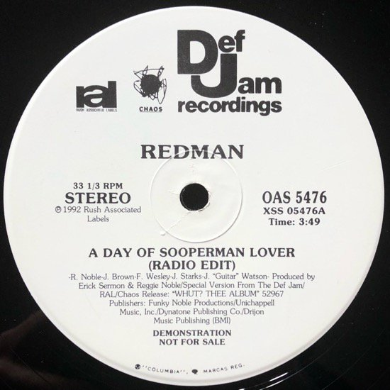 REDMAN / A DAY OF SOOPERMAN LOVER (1992 US ORIGINAL PROMO ONLY)
