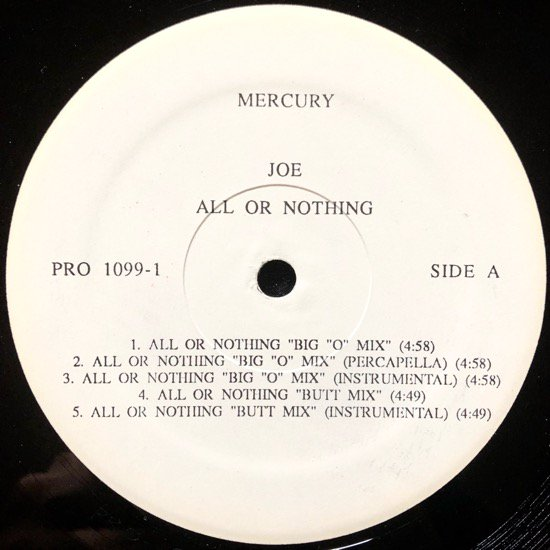 JOE / ALL OR NOTHING (1994 US PROMO BIG O REMIX)