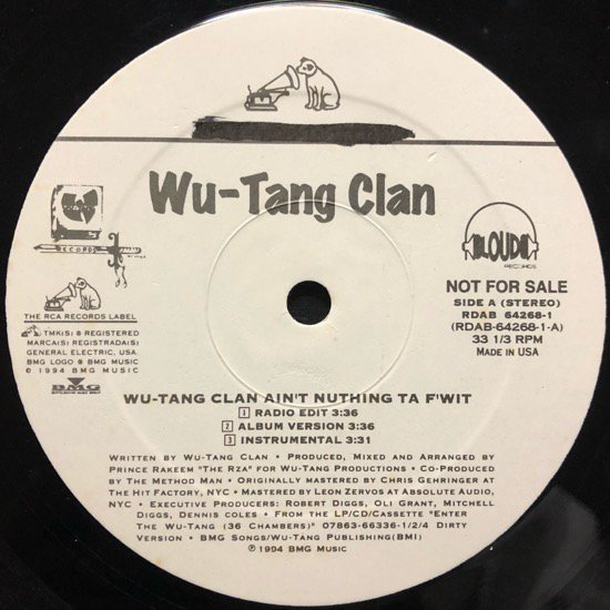 WU-TANG CLAN /  WU-TANG CLAN AIN'T NUTHING TA F' WIT b/w SHAME ON A NIGGA (1994 US PROMO ONLY)