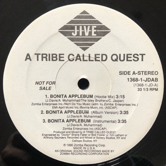 A TRIBE CALLED QUEST / BONITA APPLEBUM (1990 US ORIGINAL PROMO)