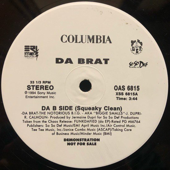 DA BRAT Feat Notorious B.I.G. / DA B SIDE (1994 US PROMO ONLY)