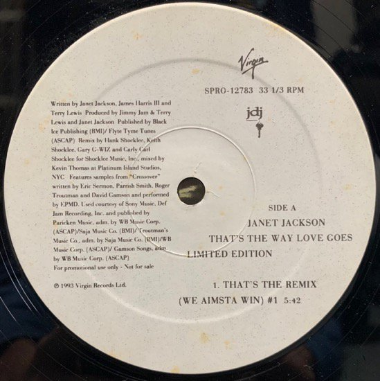 JANET JACKSON / THAT'S THE WAY LOVE GOES (Remix) (1993 US ORIGINAL PROMO ONLY RARE PRESSING)