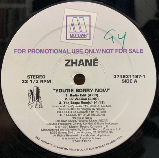 ZHANÉ / YOU'RE SORRY NOW (1994 US PROMO ONLY RARE )