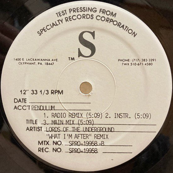 LORDS OF THE UNDERGROUND / WHAT I'M AFTER (REMIX) (1995 US ORIGINAL TEST PRESSING ONLY RARE REMIX)