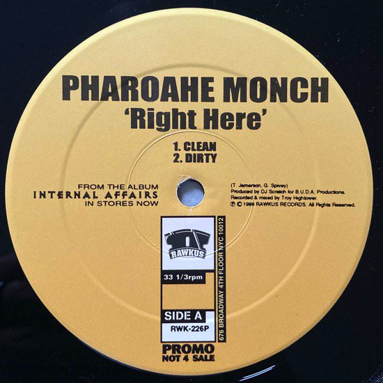 PHAROAHE MONCH / RIGHT HERE (1999 US PROMO ONLY)