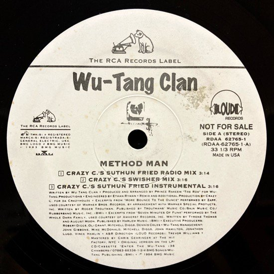 WU-TANG CLAN / METHOD MAN (CRAZY C REMIXES) (1994 US ORIGINAL PROMO ONLY PRESSING)