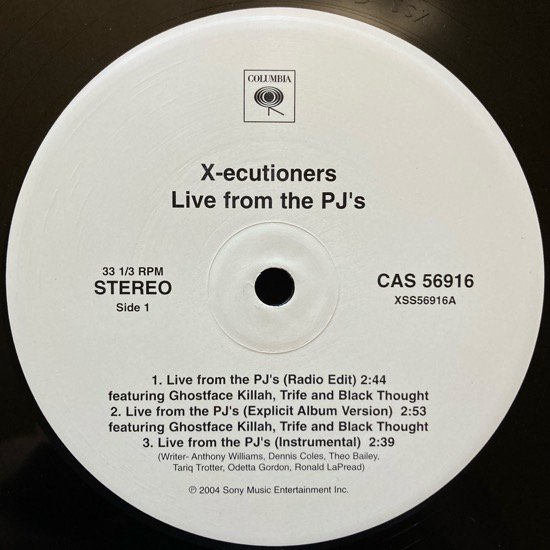 X-ECUTIONERS / LIVE FROM THE PJ'S b/w BACK TO BACK (2004 US ORIGINAL PROMOTIONAL ONLY )