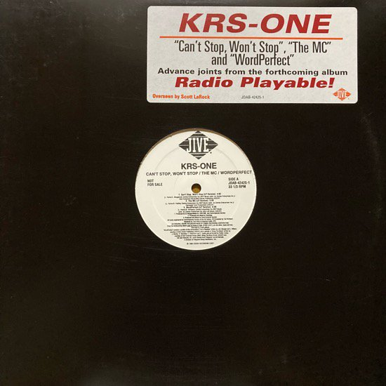 KRS-ONE / CAN'T STOP, WON'T STOP / THE MC / WORD PERFECT (1996 US ORIGINAL PROMO)