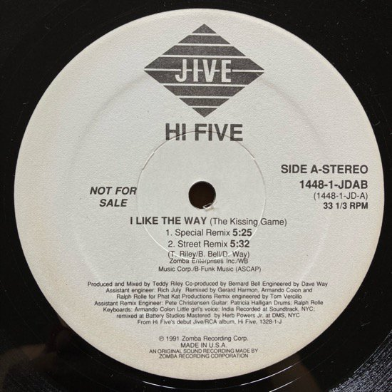 HI-FIVE / I LIKE THE WAY (Remix)(THE KISSING GAME) (1991 US ORIGINAL PROMO ONLY RARE PRESSING)