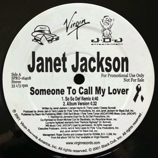JANET JACKSON / SOMEONE TO CALL MY LOVER (2001 US ORIGINAL PROMO)