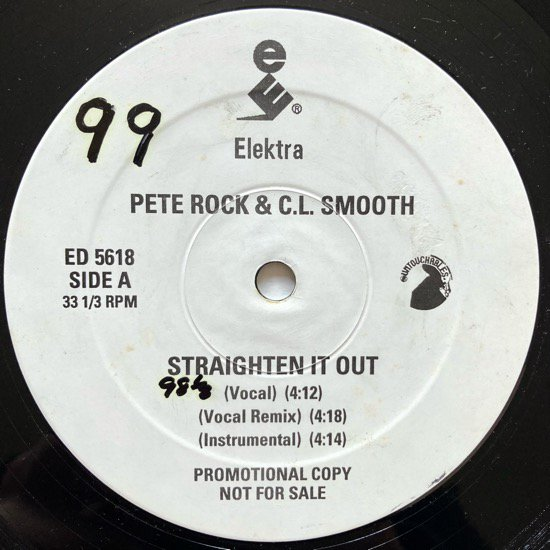 PETE ROCK & C.L. SMOOTH / STRAIGHTEN IT OUT ( 1992 US ORIGINAL PRONO ONLY The Vibes Mix )