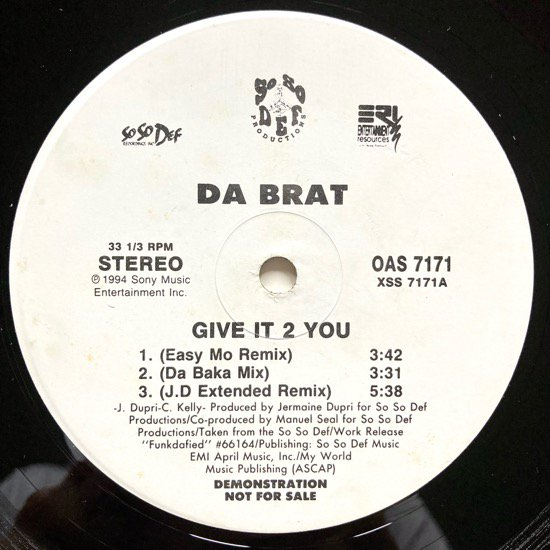 DA BRAT / GIVE IT 2 YOU (REMIXES) (1994 US ORIGINAL PROMO ONLY)