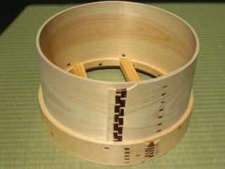 天然桧のセイロ(1升)和セイロ 桜皮編み