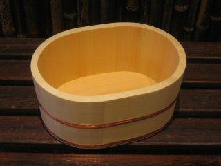 天然桧の風呂湯桶(小)小判