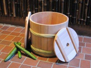 天然さわらの漬物樽(8升)漬物桶 竹タガ