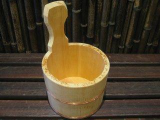 天然桧の風呂湯桶(手桶)
